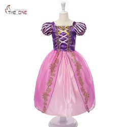 Muababy meninas rapunzel fantasiar-se crianças neve branca princesa traje crianças cinderela aurora sofia festa de halloween vestido cosplay