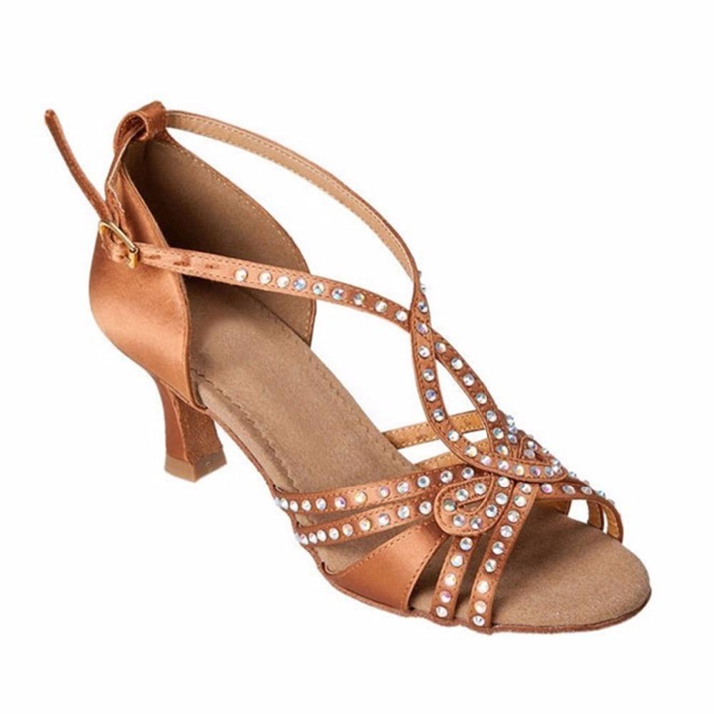 Chaussures de danse strass Salsa sandale femme chaussures de danse latine chaussures de salon Peep Toe Satin talons personnalisés Coupons pour les réductions