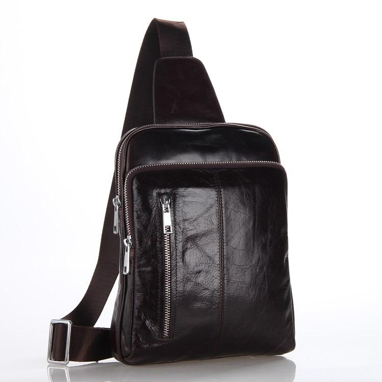 Vintage 100 Genuine Leather Bags Men Chest Pack Fashion Cowhide Leather Chest Bag Men Messenger Bags