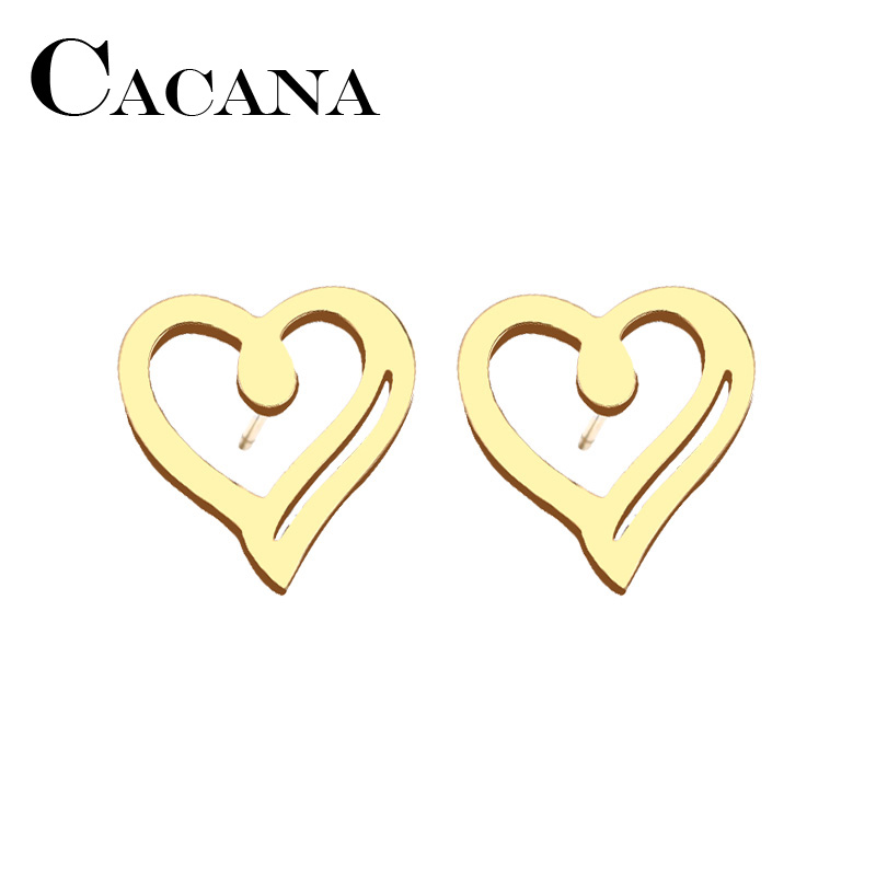 CACANA Stainless Steel Stud Earring For Women Man Heart Gold And Silver Color Lovers Engagement Jewelry Drop Shipping