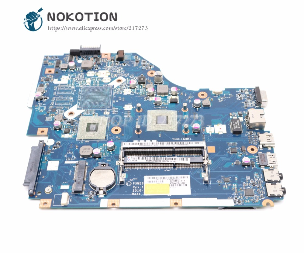 NOKOTION For Acer 5253 5250 Laptop Motherboard MBNCV02002 PEWE6 LA-7092P MAIN BOARD DDR3 With Processor Onboard