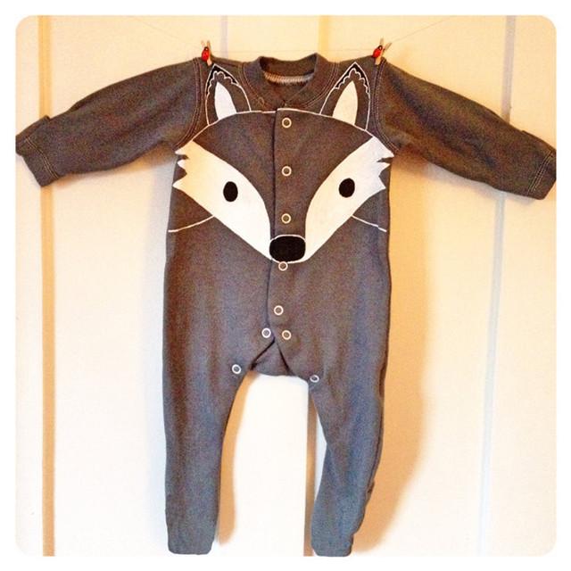 2016 Nuevo Bebé Ropa de Los Muchachos de Ocio Infantil Mono de Algodón de Dibujos Animados Zorro Leotardo Mamelucos Ropa Soddler H361