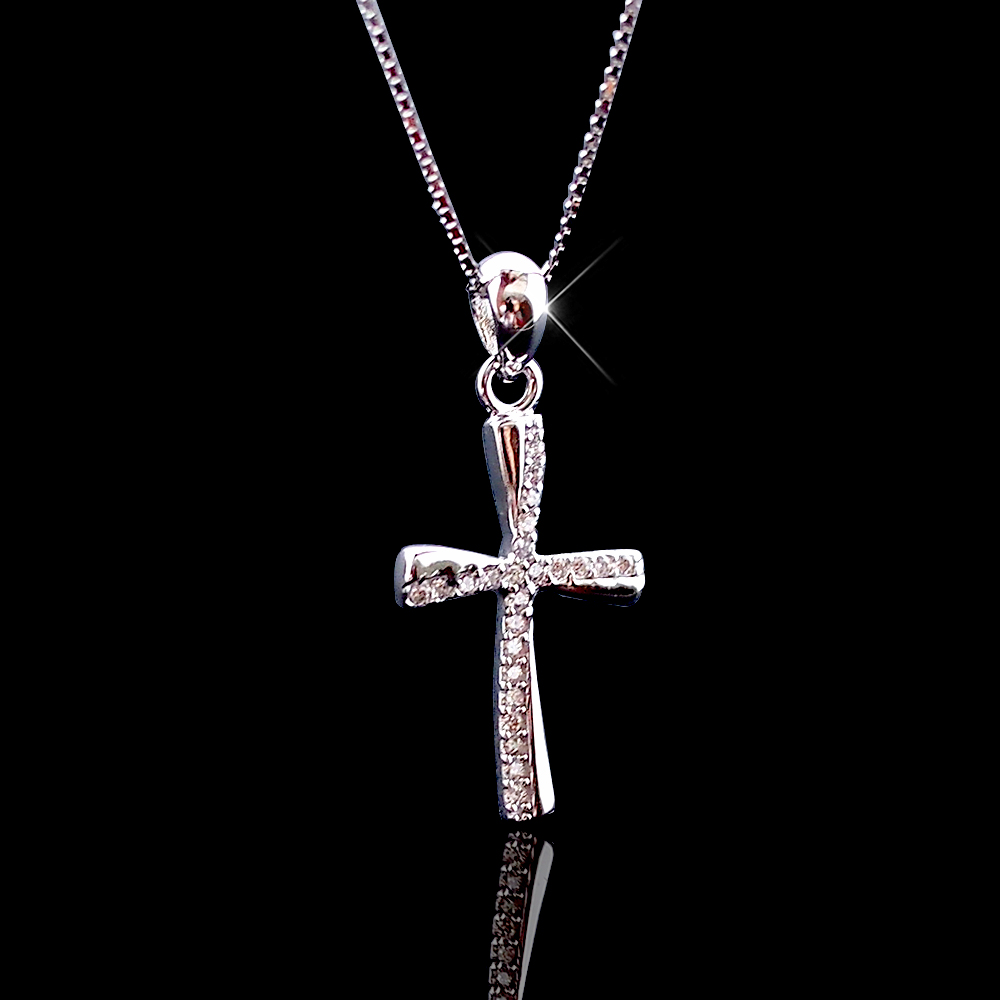 100 real pure 925 sterling silver cross necklaces women. Black Bedroom Furniture Sets. Home Design Ideas