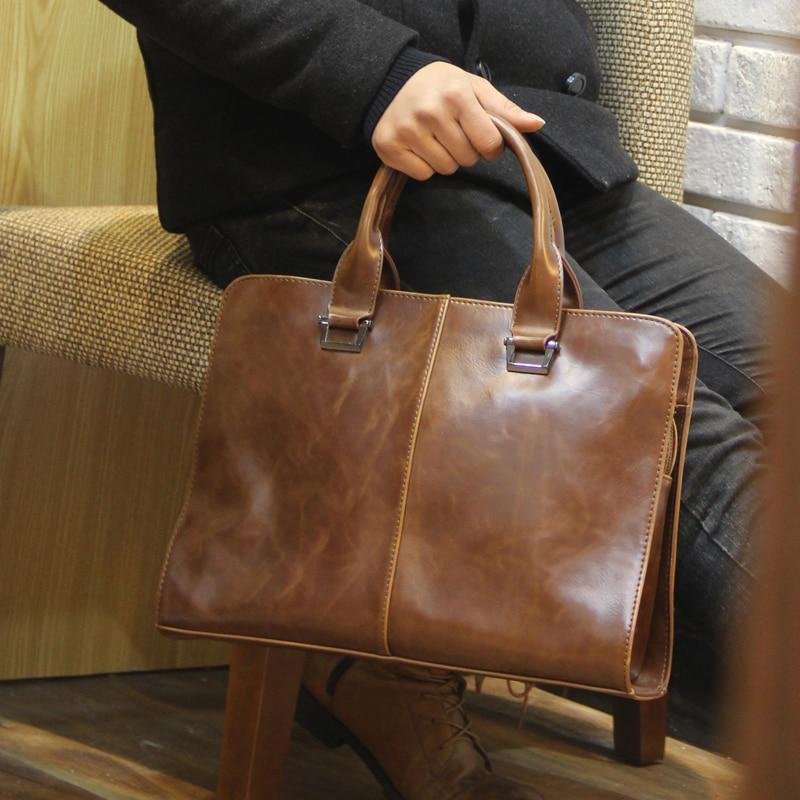 New Crazy Horse PU Leather Briefcase Computer Laptop Bag Brand Business Handbag Men Travel Bags Retro Briefcase Brown Black
