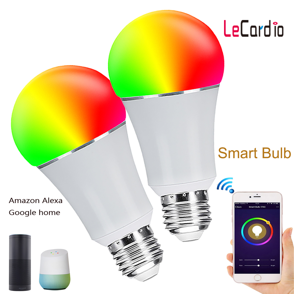 2PC LED RGB Light Bulb Multicolor Dimmable Smart Home WiFi Light Bulb Party Lamp Compatible With Alexa And Google Assistant