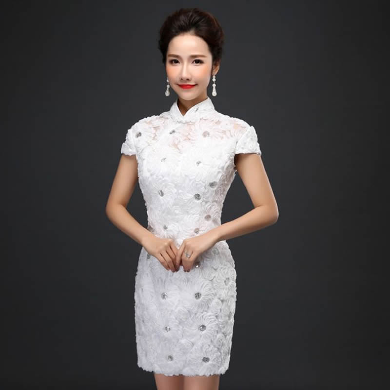 2016 fashion chinese traditional wedding dress white lace for Chinese style wedding dress