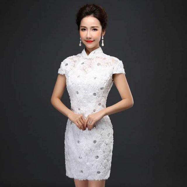 Fashion Witte Kant 2016 Qipao Chinese Trouwjurk Traditionele Moderne UzVjLSpGqM