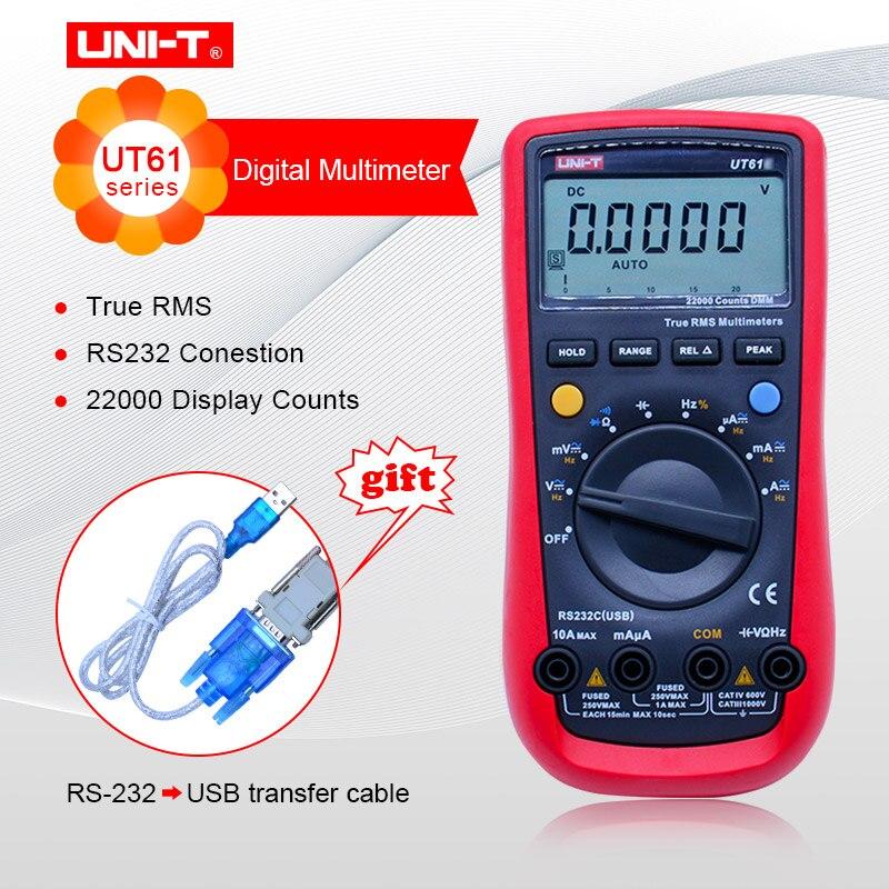 UNI T UT61A UT61B UT61C UT61E Digital multimeter true RMS RS232 interface MULTIMETER Auto range with LCD backlight display-in Multimeters from Tools