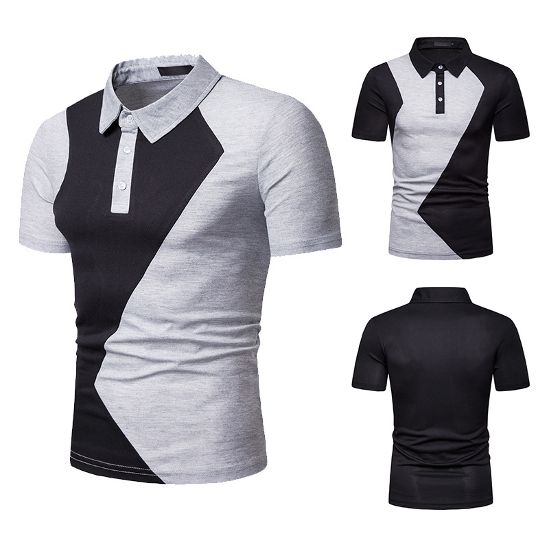 Hot Sale Male   Polo   Shirt Fashion Patchwork Men   Polo   Shirt Turn-Down Collar   Polo   Shirts Man Short Sleeve