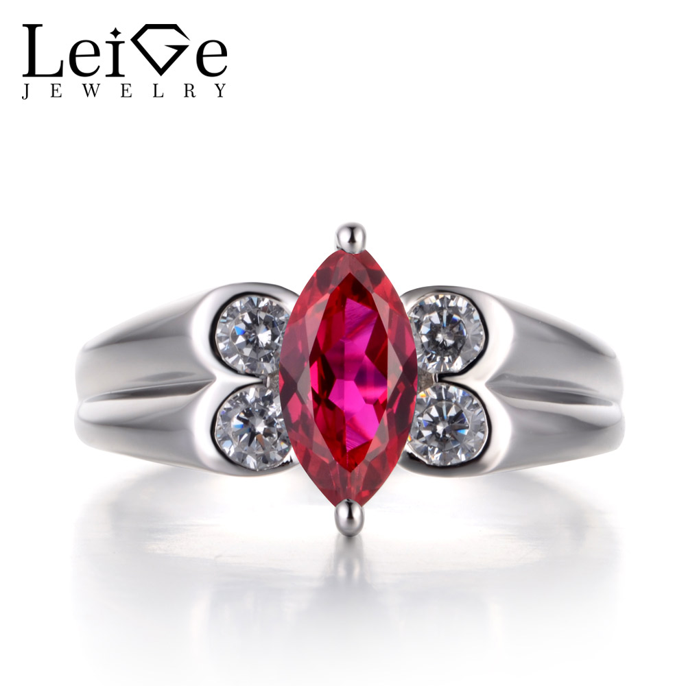 Leige Jewelry Engagement Ring Natural Ruby Ring Marquise Cut Gemstone Real 925 Sterling Silver Romantic Classic Gifts for Girls