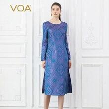 цены VOA Silk Jacquard Dresses Women Purple A Line Midi Dress Autumn Long Sleeve Vintage Chinese Elegant Large Size Mystery B6202