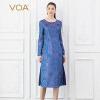 Voa шёлковый жаккардовые платья Для женщин Фиолетовый Line Midi платье осень с длинным рукавом Винтаж Китайский элегантный большой размер тайна