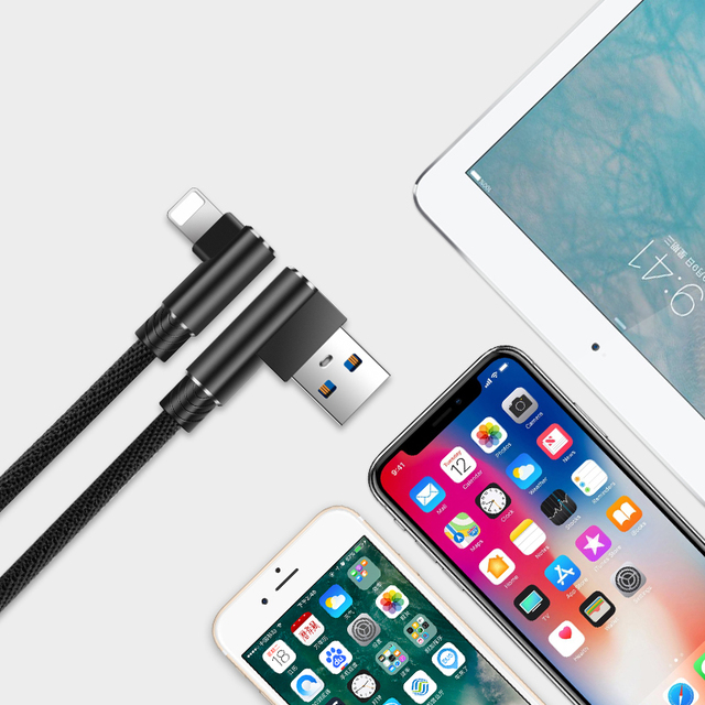 USB kabel for iPhone xs maks XR 8 7 6 6s ladekabel 90 graders albue ladesnor for iPad for iPhone Se 5S USB kabel