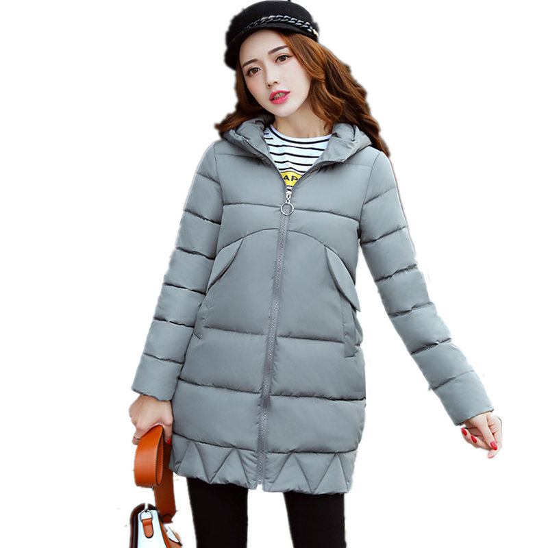 Winter Women Cotton Parkas Korean Long Padded-Cotton Large Size Female Jacket Solid Color Thick Warm Hooded Coat Mujer MZ1696 women s thick warm long winter jacket parkas mujer hooded cotton padded coat female manteau femme jassen vrouwen winter mz1954