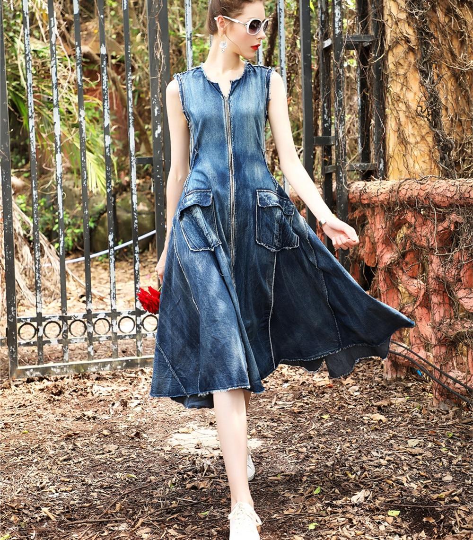 6cb1178b57 Women long denim dress sale 2017 High quality flare blue jeans dress  vintage sleeveless front zipper pockets midi dress