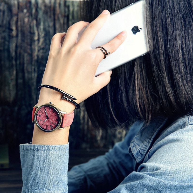 MEIBO Relojes Women Quartz Watches Denim Design Leather Strap Male Casual Wristwatch Relogio Masculino Ladies Watch female watch 10