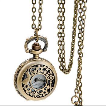 Vintage Cute Rabbit Flower Pocket Watch Necklace Quartz Women Ladies Bronze Pendant Retro Chain Gift