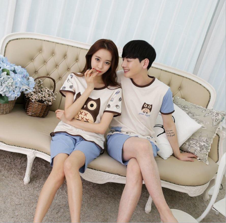 Newest Men/Women fashion animals nighthawk printing Round Neck Short sleeve Sleepwear Summer Couple Leisure Pajamas Home Suit