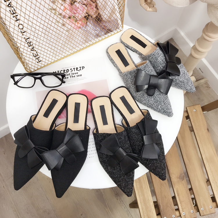 Pointed Fashion Solid Color Bow Sexy Women 39 s Slippers Flat Shoes NIUFUNI New Simple Mules Shoes Slip Ons Casual Outdoor Sandals in Slippers from Shoes