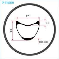 7 TIGER 29er Carbon MTB Bike Rims 27mm Width 23mm Depth Tubular Rim T700 Carbon Fiber