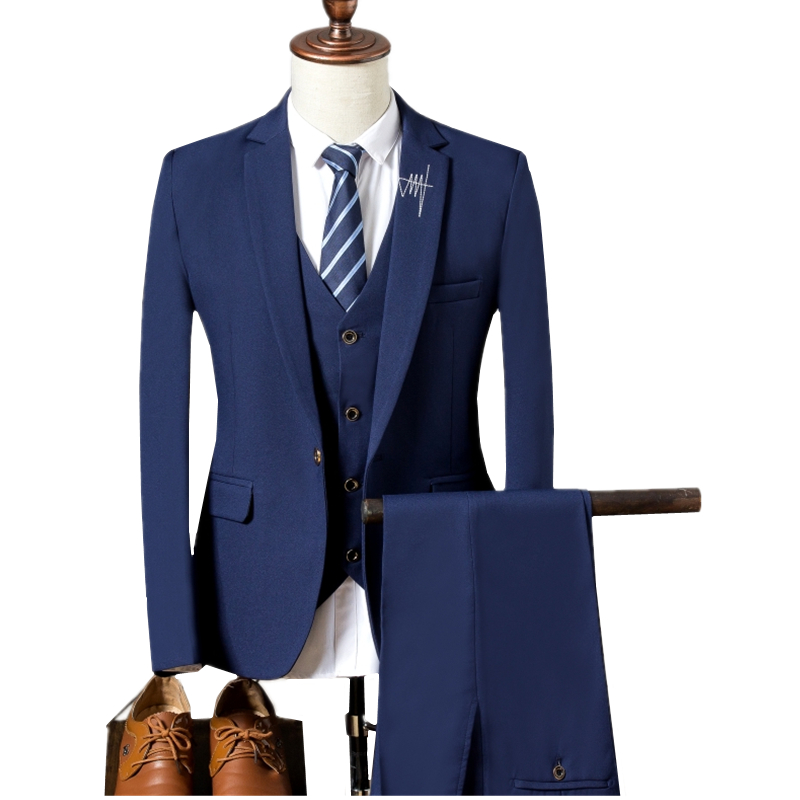 Hartig Pure Kleur Mannen Pak 3 Stuk Set S M Xl 3xl Sky Blauw Donkerblauw Zwart Business Bruiloft Slanke Elegante Man Blazer Jassen