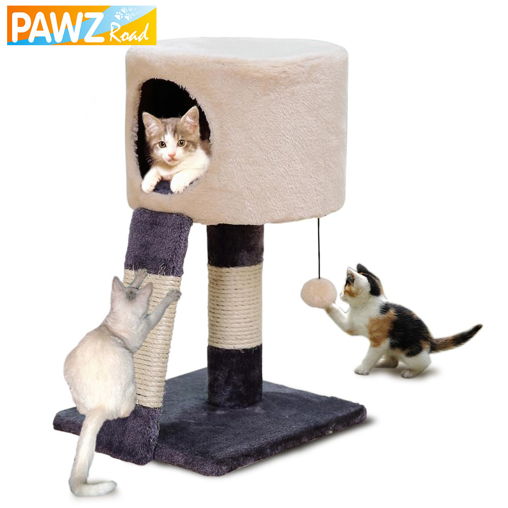 H52cm Cat Toy Scratching Post Wood Climbing Cat House Cat
