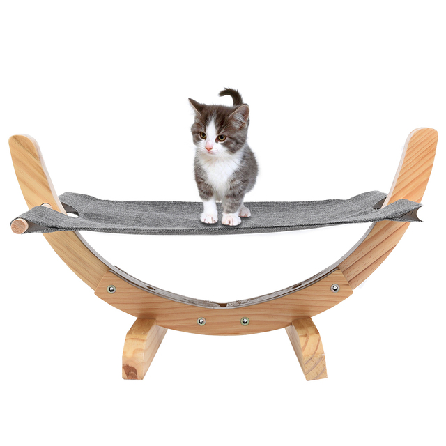 Petacc Practical Cat Wooden Hammock Comfortable Cat Bed Hammock Wooden Frame Cat Hammock with Soft Linen Mat Suitable for Cat