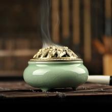 Longquan celadon aroma oil burner ceramic incense sticks sandalwood antique Buddha hand alloy fragrance