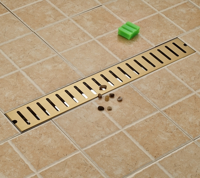 Golden 70cm Bathroom Floor Drain Grill Square Shower Floor Drain Ground  Leakage