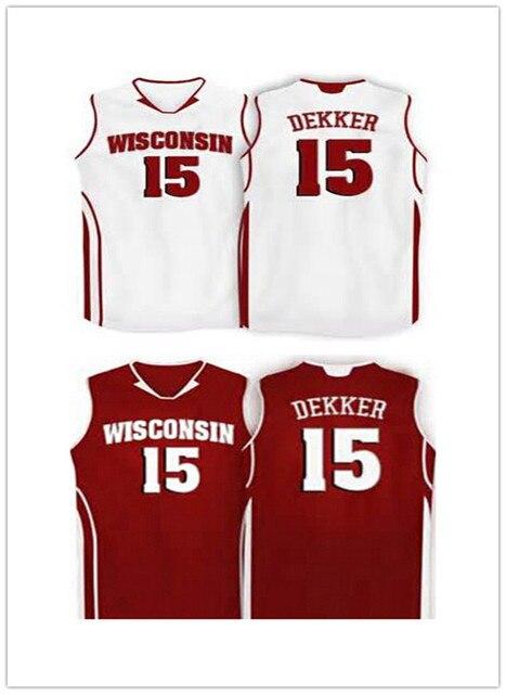 1e9ff490db5c 15 Sam Dekker Wisconsin Badgers College basketball Jersey throwback ...