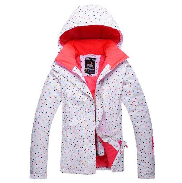 FRAUEN Skifahren Jacken Weiße Farbe Druck Baumwolle Wasserdichte ...