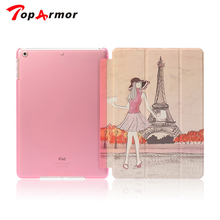 TopArmor Brand for ipad mini / ipad5  Flip Luxury Transparent Clear Back Leather Case For ipad Air / Mini 1 2 3