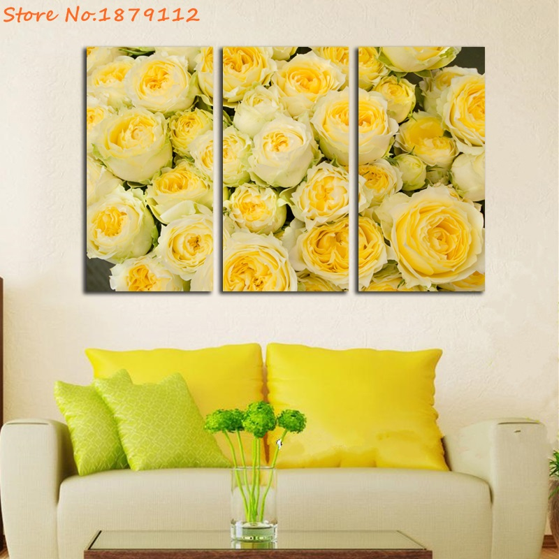 Promotion Yellow Roses Picture Prints Wall Decor Canvas 3 Pieces ...