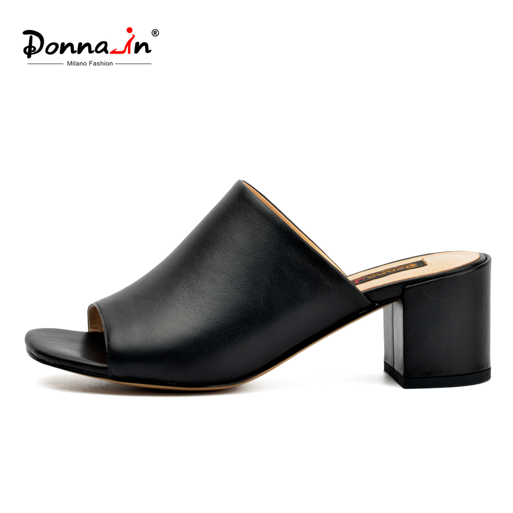 Donna-in 2018 Summer Mules Heels Slippers Genuine Leather Open Toe Designer Slides Casuals Black Female Footwear Women Shoes led driver 1200w 24v 0v 26 4v 50a single output switching power supply unit for led strip light universal ac dc converter