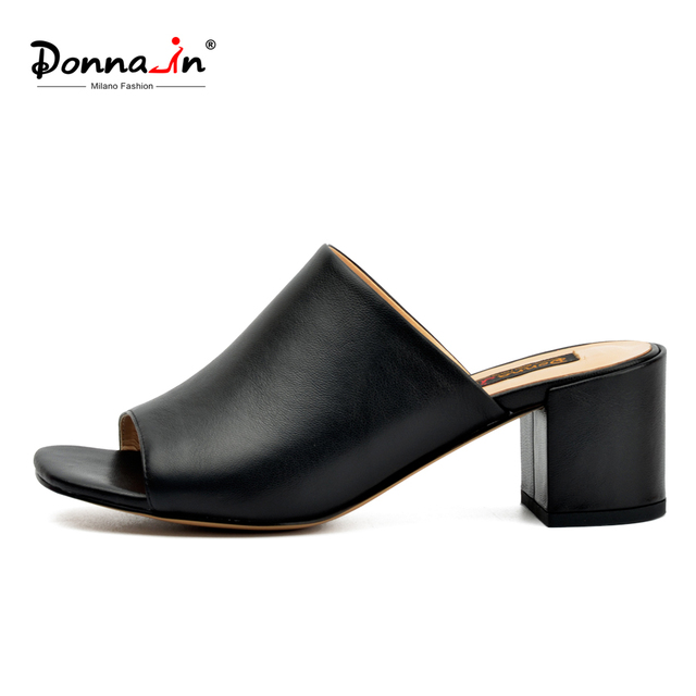 35f8c576b03 US $39.9 50% OFF Donna in 2019 Summer Mules Heels Slippers Genuine Leather  Open Toe Designer Slides Casuals Black Female Footwear Women Shoes-in ...