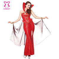 Red Vinyl Stand Collar Long Split Devil Queen Cosplay Gothic Fancy Dress Adult Sexy Vampire Costume