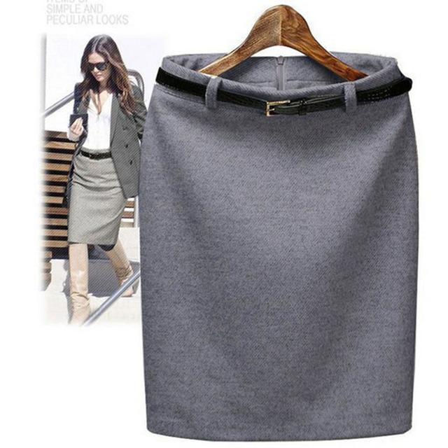 S-3XL Plus Size Outono Inverno Lã Saia Lápis Formais das Mulheres OL Vestir para trabalhar vestido de Médio-longo Saia de Cintura Alta com Cinto SKT365