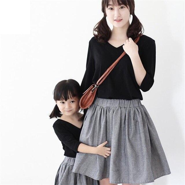 2017 brand design cotton linen soft gray women stripe skirts mother daughter dress family matching clothes children girls skirts