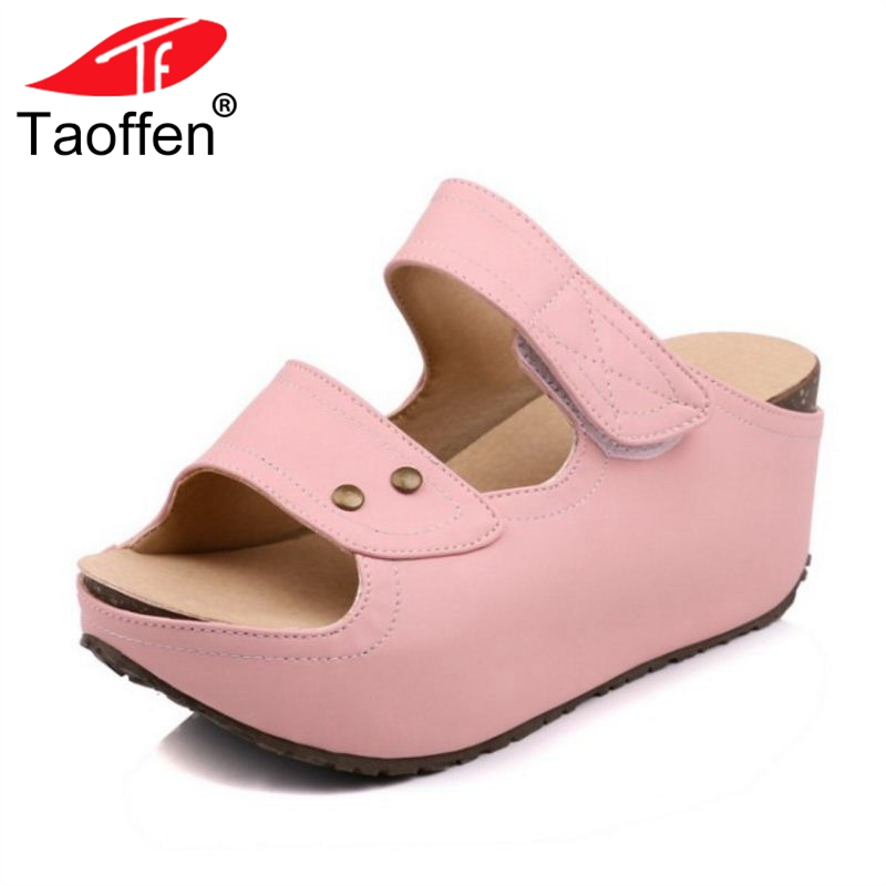 TAOFFEN Size 33-40 Women Sandals Slip On Trifle Open Toe Ladies Summer Shoes Simple Fashion Sandals For Daily Beach Footwear