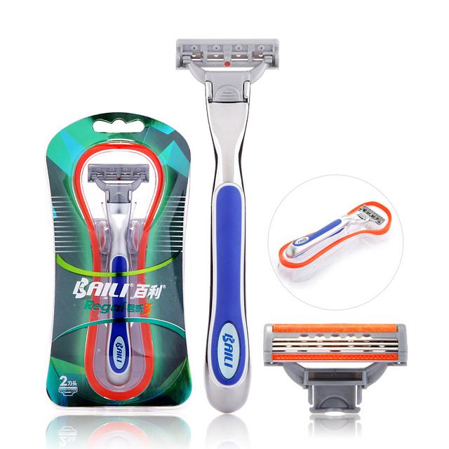 Lâminas de Barbear De segurança Navalhas Barbeadores Para Os Homens Marca de barbear Manual 1 Titular com 2 Lâmina de Alumínio-Liga de zinco + EUA Importações Lâmina