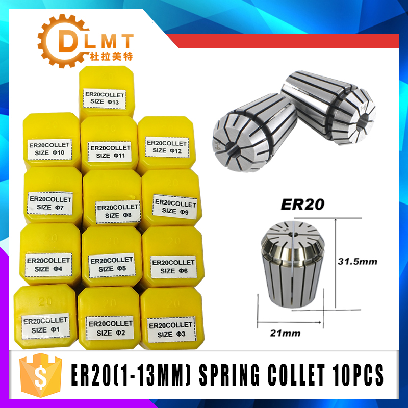 1pcs ER20 1-13MM 1/4  6.35 1/8 3.175 1/2 12.7  Spring Collet High Precision Collet Set For CNC Engraving Machine Lathe Mill Tool