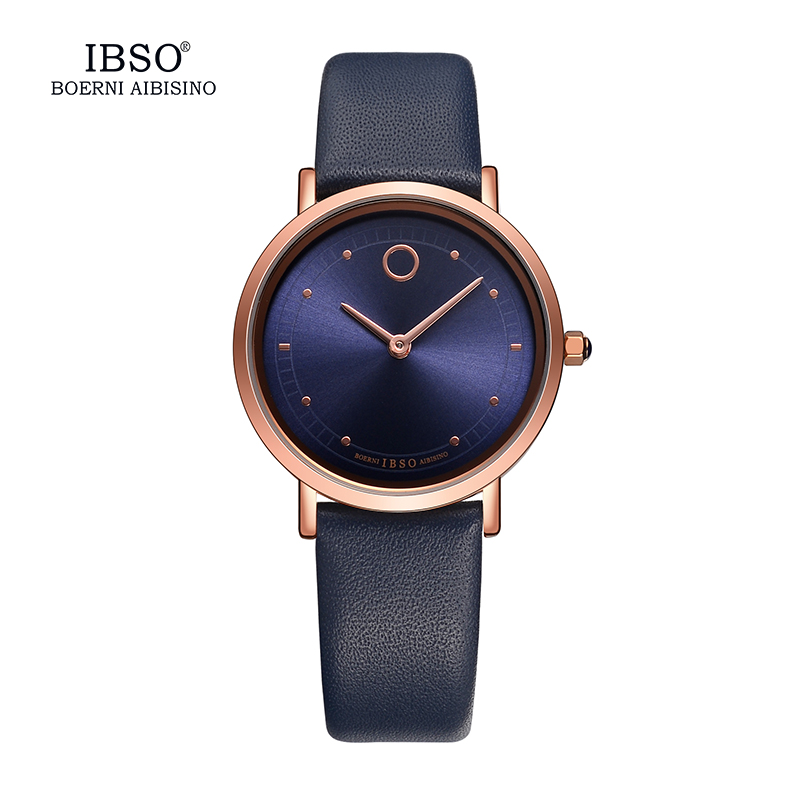 IBSO 7.6MM Ultra-Thin Women Watches 2018 Fashion Vandtæt Quartz Watch Women Luksus Ægte Læderrem Montre Femme