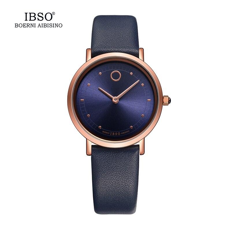 IBSO 7.6MM Ultra Thin Women Watches 2018 Fashion Waterproof Quartz Watch Women Luxury Genuine Leather Strap Montre Femme