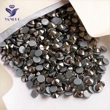 YANRUO 2058HF SS16 Jet Hematite 1440Pcs Hotfix Rhinestones Iron Gem Diamante Crystal Wedding Decoration