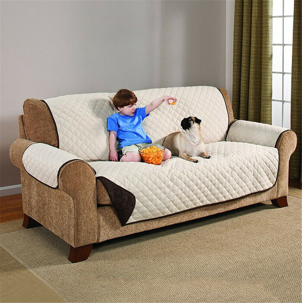 1//2//3 Seater Quilted Sofa Couch Cover Chair Pet Dog Kids Mat Furniture Protector