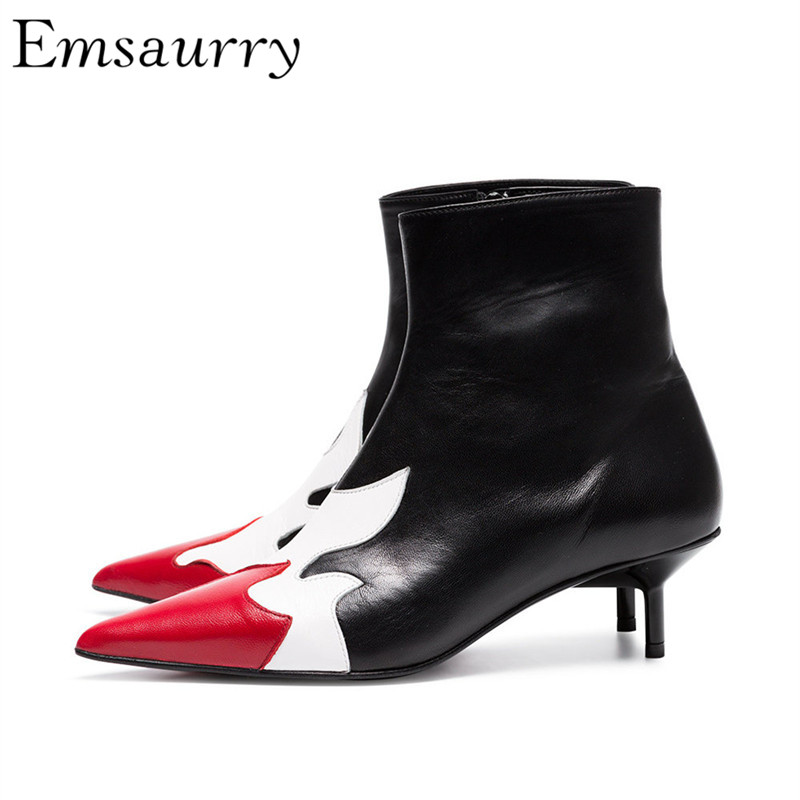 British Style Mixed Color Ankle Boots Women Leather Point Toe 6cm Thin Heels Side Zip Red Flame Shoert Booties long side bang mixed color tail adduction stunning cosplay lolita synthetic wig for women