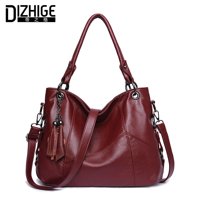 DIZHIGE Brand Tassel Women Handbags Designer Shoulder Bag High Quality PU Leather Bags Women Chain Ladies Hand Bag Tote Sac 2018 women vintage bucket bag ladies casual pu leather handbags tote high quality messenger bags brands designer shoulder tassel bag