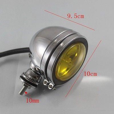 Chrome Retro Motorcycle Passing Driving Head Light Cafe Racer Bobber Chopper Vintage