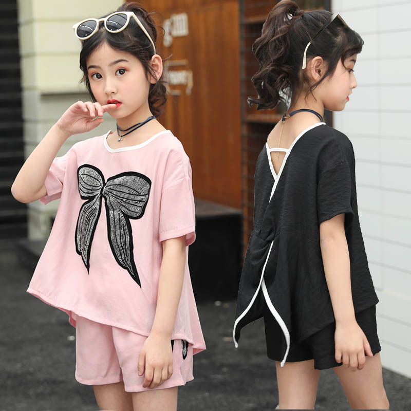 girls clothes Girls summer suit 2019 fashion new edition unique short-sleeved shirt short jeans two-piece summer dressgirls clothes Girls summer suit 2019 fashion new edition unique short-sleeved shirt short jeans two-piece summer dress