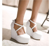 platform women's red shoes straps wedding shoes high heels lady pumps wedges dancing party shoes